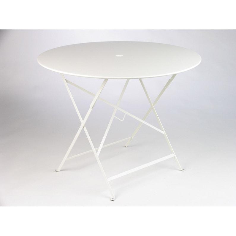 Table de jardin de repas FERMOB Bistro ronde blanc 4 personnes
