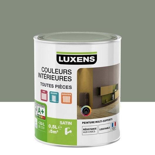 Peinture gris smoke 4 luxens couleurs int rieures satin 0 5 l leroy merlin for Peinture gris violet