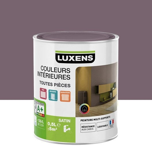 Peinture violet aubergine 3 luxens couleurs int rieures satin 0 5 l leroy merlin for Peinture aubergine