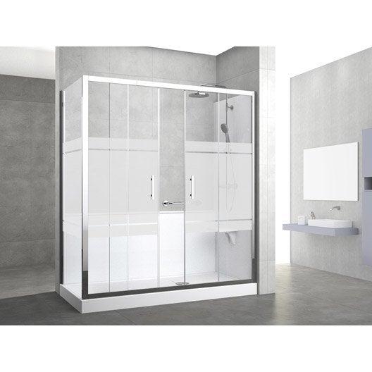 kit de remplacement baignoire par douche entre 2 murs 160. Black Bedroom Furniture Sets. Home Design Ideas