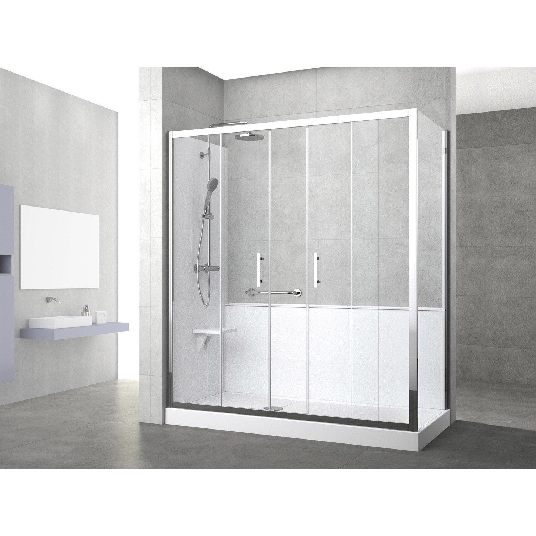 Kit de remplacement baignoire par douche entre 2 murs 170 x 80 cm ...