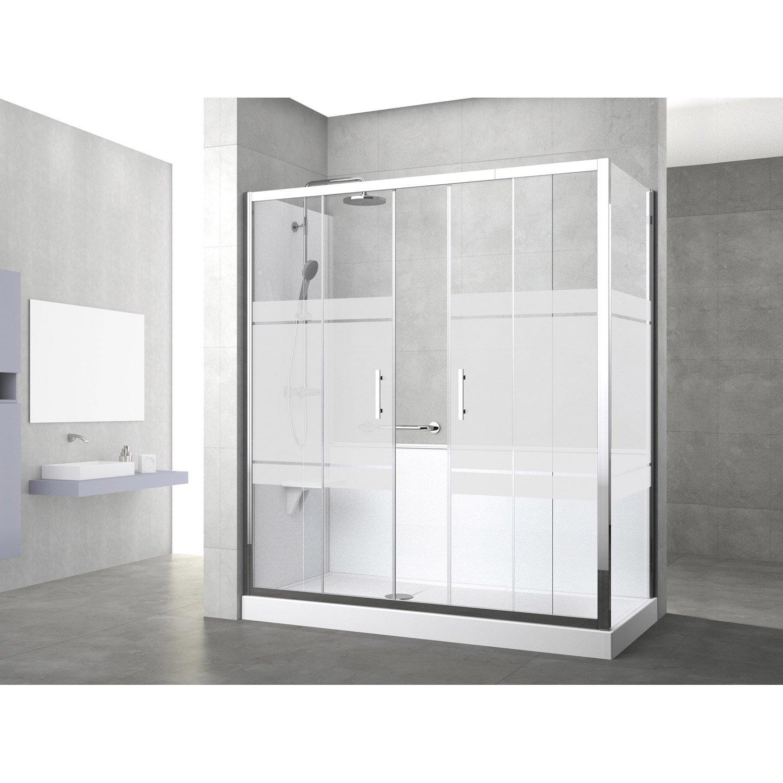 Kit de remplacement baignoire par douche entre 2 murs 160 for Par baignoire leroy merlin