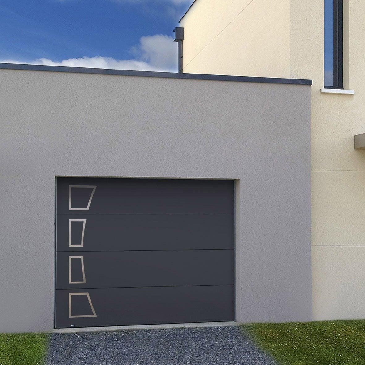 Porte De Garage Sectionnelle Acora Motorisée H X L Cm - Porte de garage sectionnelle avec porte douche pvc