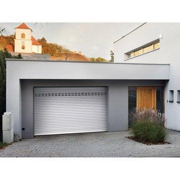 Porte de garage à enroulement motorisée ARTENS essentiel H.200 x l.240 cm.