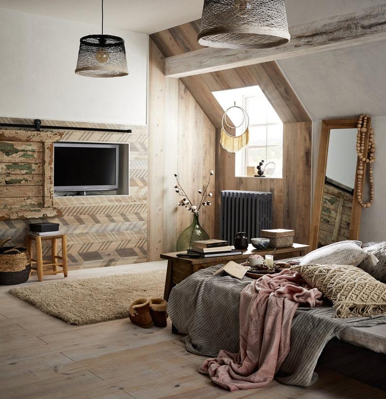 Lambris pvc lambris bois parquet et plancher construction menuiserie leroy merlin - Lambris chambre ...