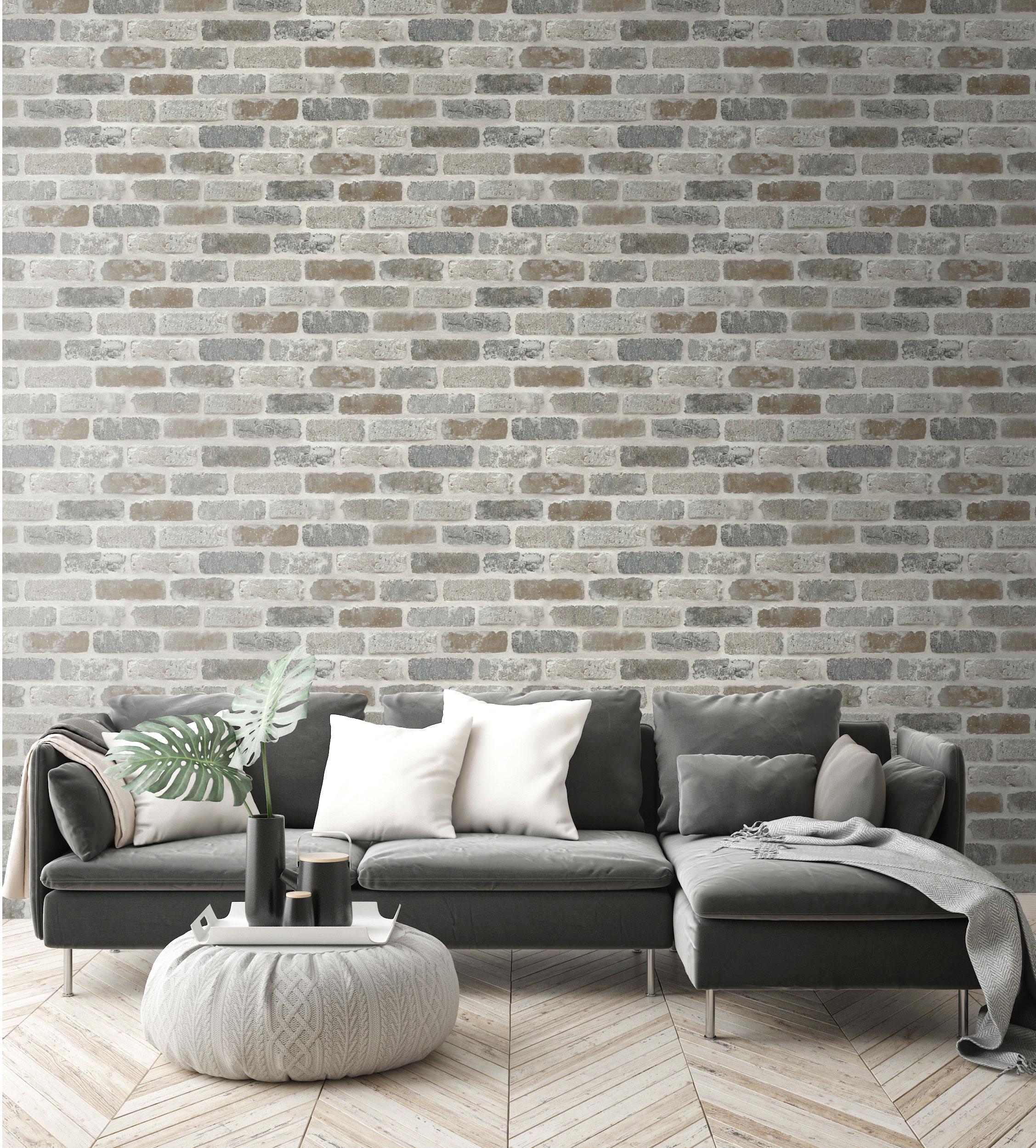 Rouleau adhésif décoratif Brique gris 52 cm x 10 cm