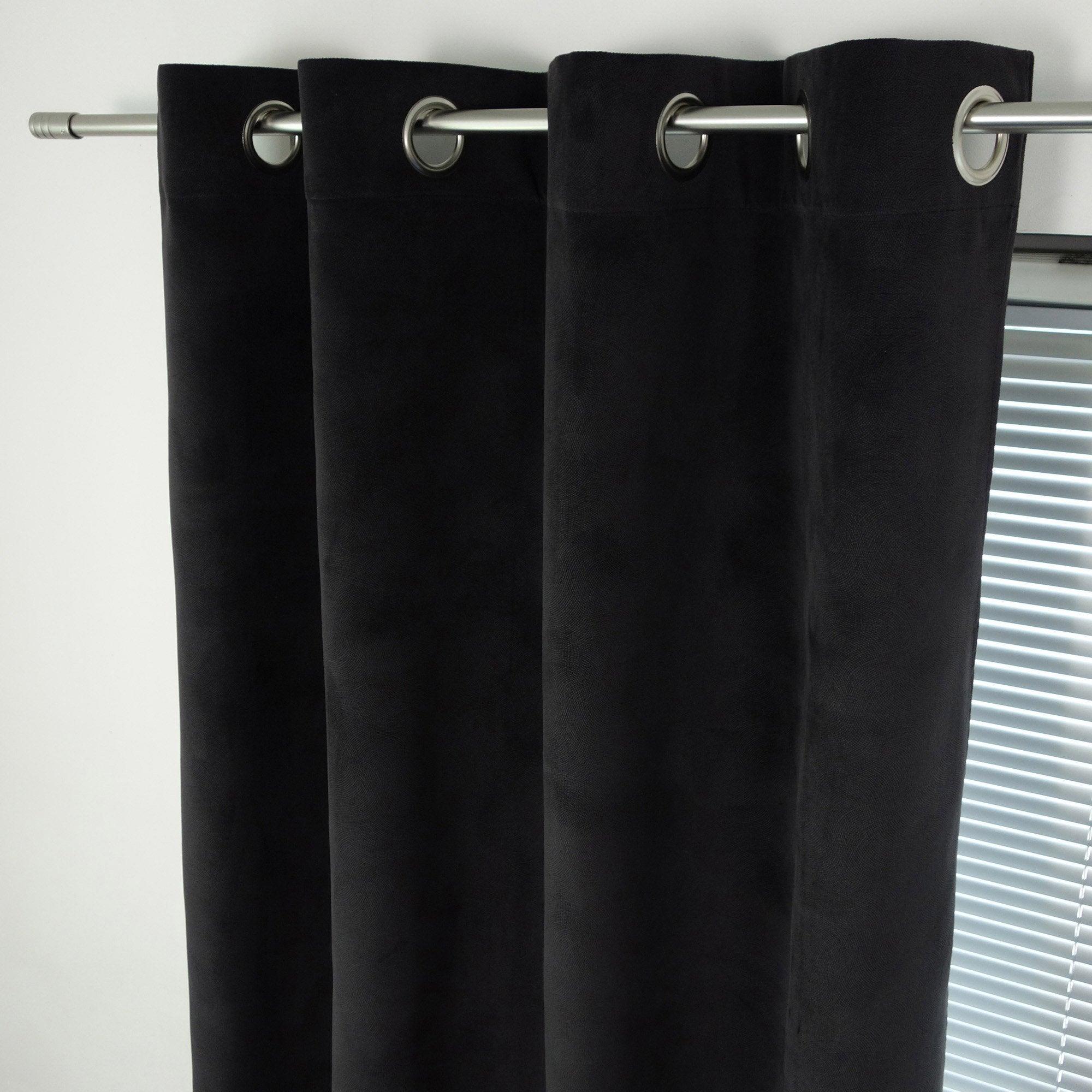 Rideau tamisant, Cambridge, noir, l.140 x H.260 cm