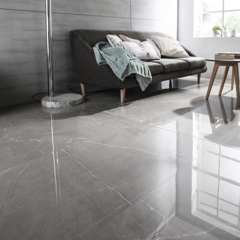 Carrelage sol et mur gris effet marbre Rimini l.60 x L.120 cm
