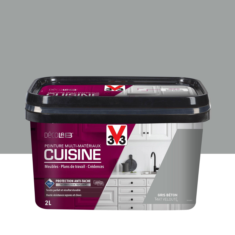 Peinture cuisine meuble et crédence Décolab® V15 gris béton mat 15 l