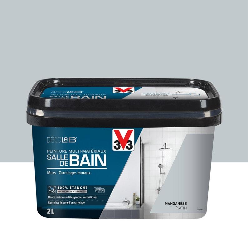 Peinture salle de bains carrelage & meuble Decolab V33, manganèse satin, 2 l