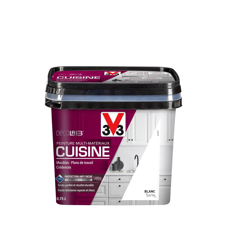 Peinture Cuisine Toute Surface Cuisine Meubles Crédences V33 Blanc Satin 075