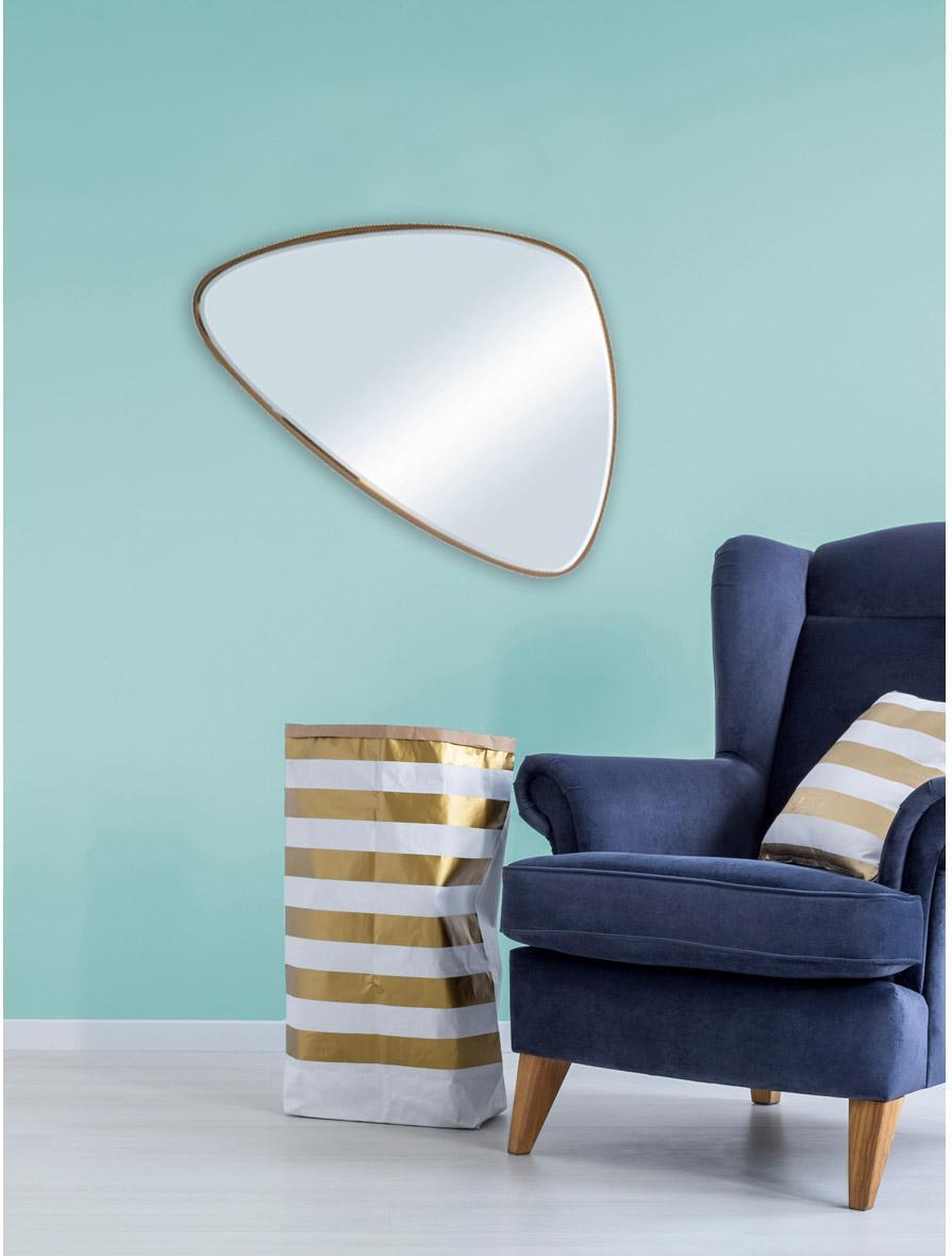 Miroir triangulaire Biseauté, dorée, l.62 x H.62 cm