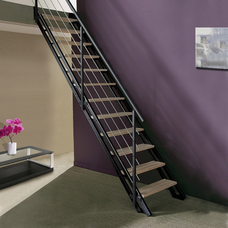 Escalier droit acier noir Escavario 12 marches naturel, l.80 cm ...