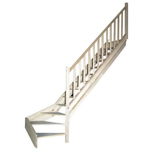 escalier nature sans contremarche quart tournant en bois. Black Bedroom Furniture Sets. Home Design Ideas