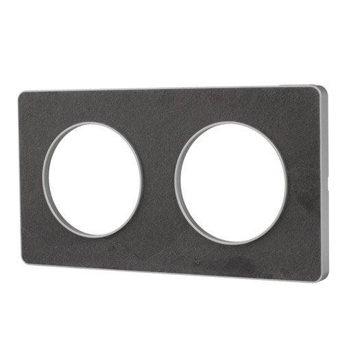 plaque double odace schneider electric ardoise leroy merlin. Black Bedroom Furniture Sets. Home Design Ideas