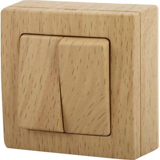 double interrupteur va et vient saillie bel 39 vue bois. Black Bedroom Furniture Sets. Home Design Ideas