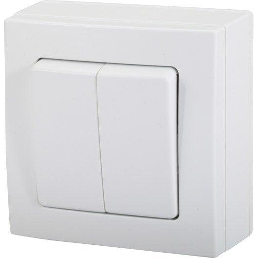 double interrupteur va et vient blanc en saillie s rie. Black Bedroom Furniture Sets. Home Design Ideas