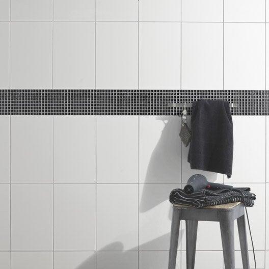 Fa ence mur blanc basic x cm leroy merlin - Faience autocollante salle de bain ...