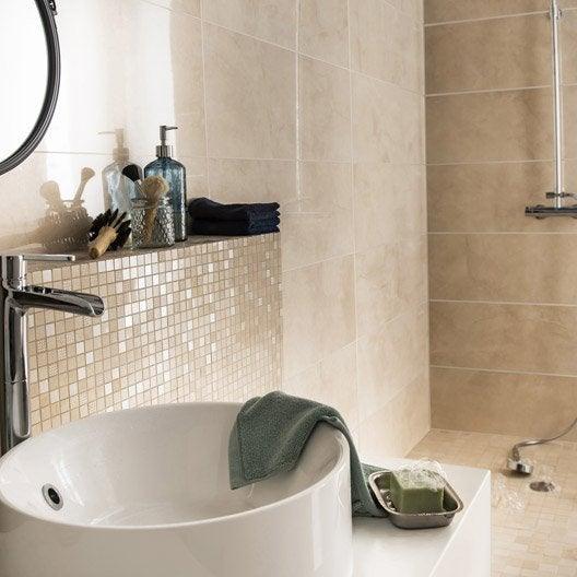 Fa ence mur beige murano x cm leroy merlin - Faience salle de bain beige ...