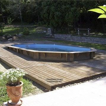 Piscine hors-sol bois Samoa, Diam.5.05 L.5.05 x l.3.55 x H.1.2 m
