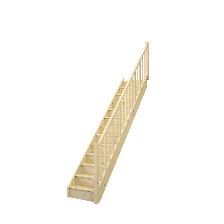 Escalier droit bois sapin Deva 2 13 marches sapin naturel rampe droite, l.76