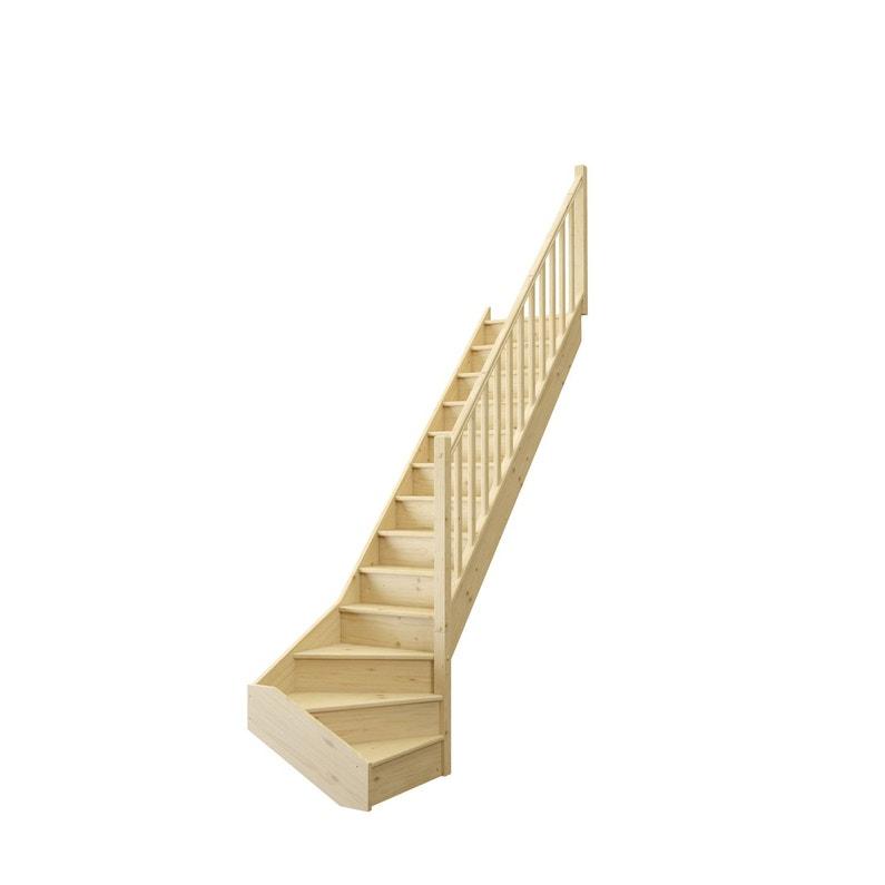 Escalier 1 4 Tournant Bas Droit Bois Sapin Deva 2 13 Marches Sapin Naturel L 76