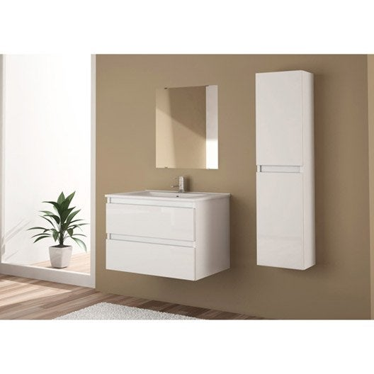 Meuble sous vasque miroir x x cm snow for Meuble vasque leroy merlin