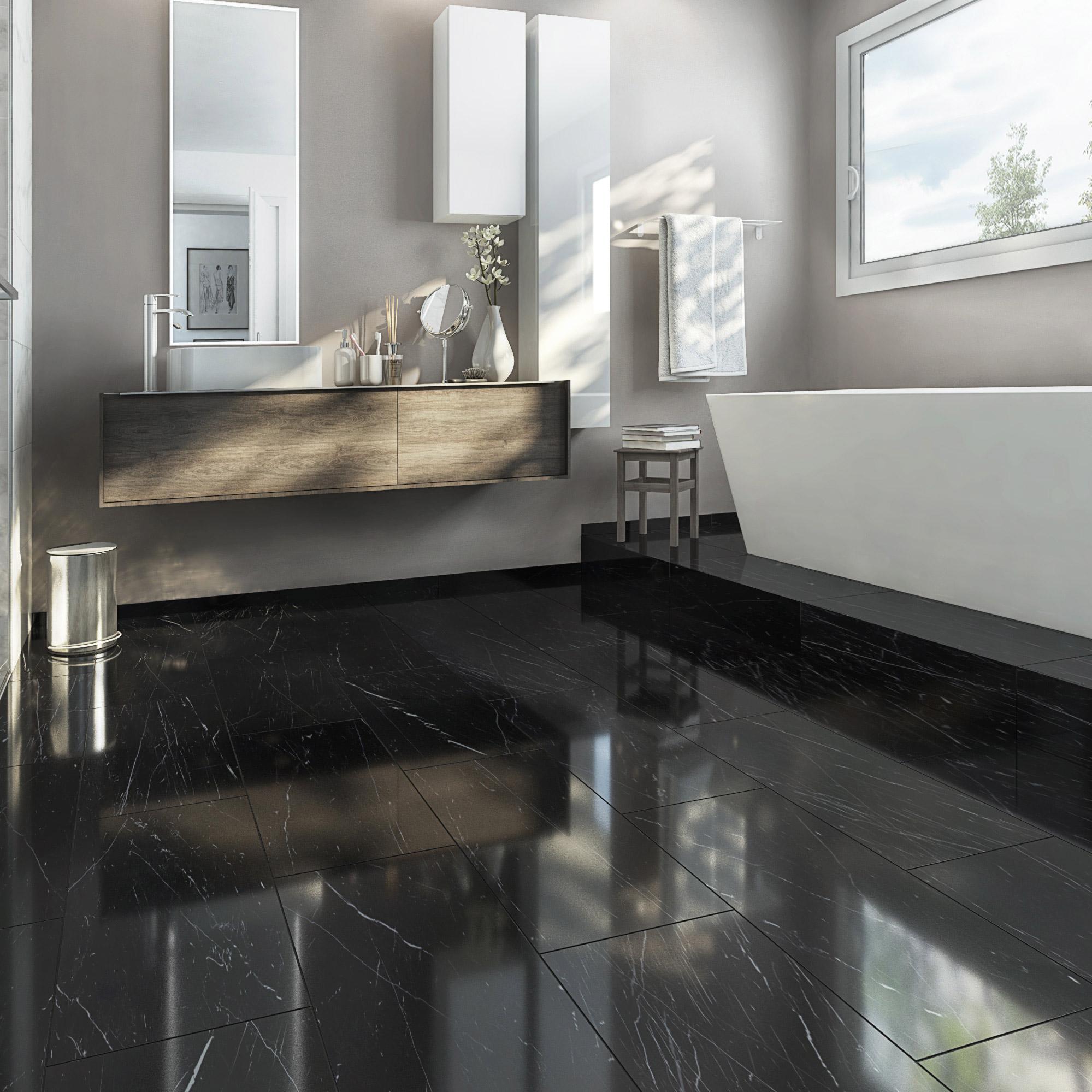 Carrelage sol et mur noir effet marbre Rimini l.30 x L.60 cm