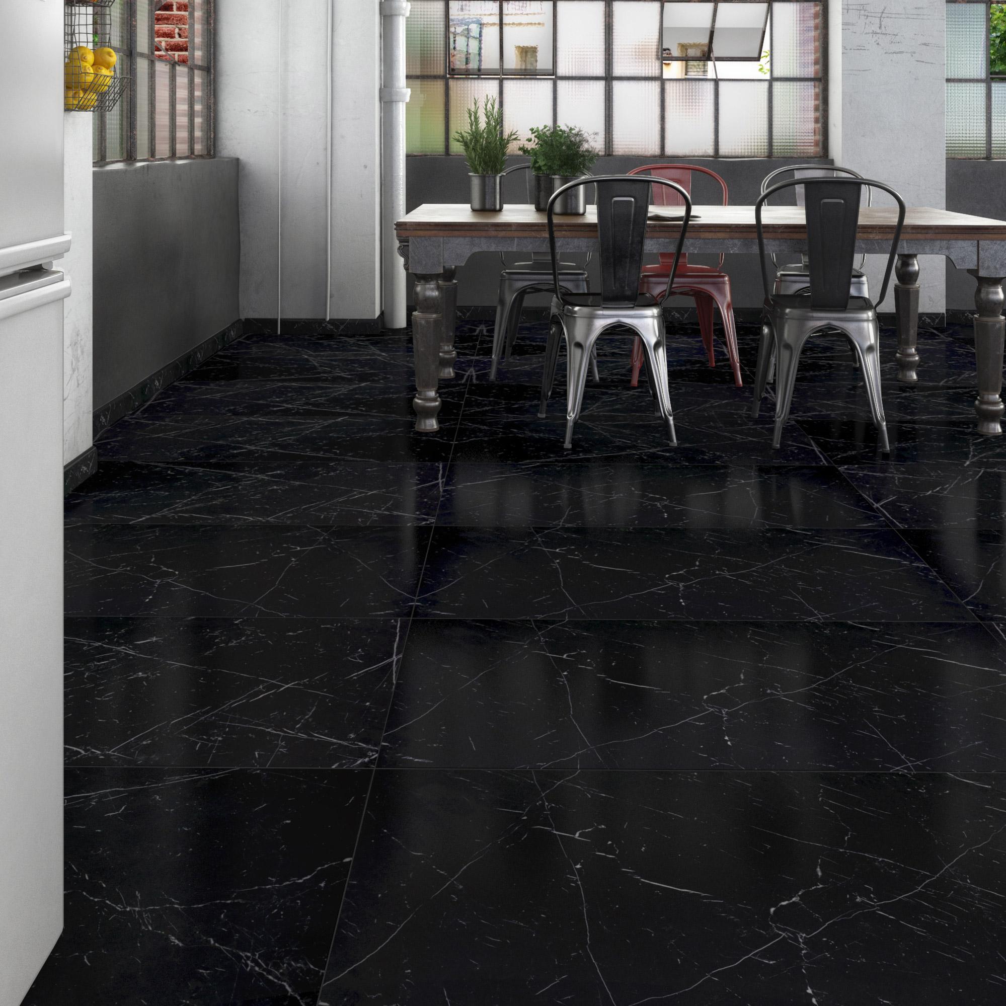 Carrelage sol et mur noir effet marbre Rimini l.60 x L.120 cm
