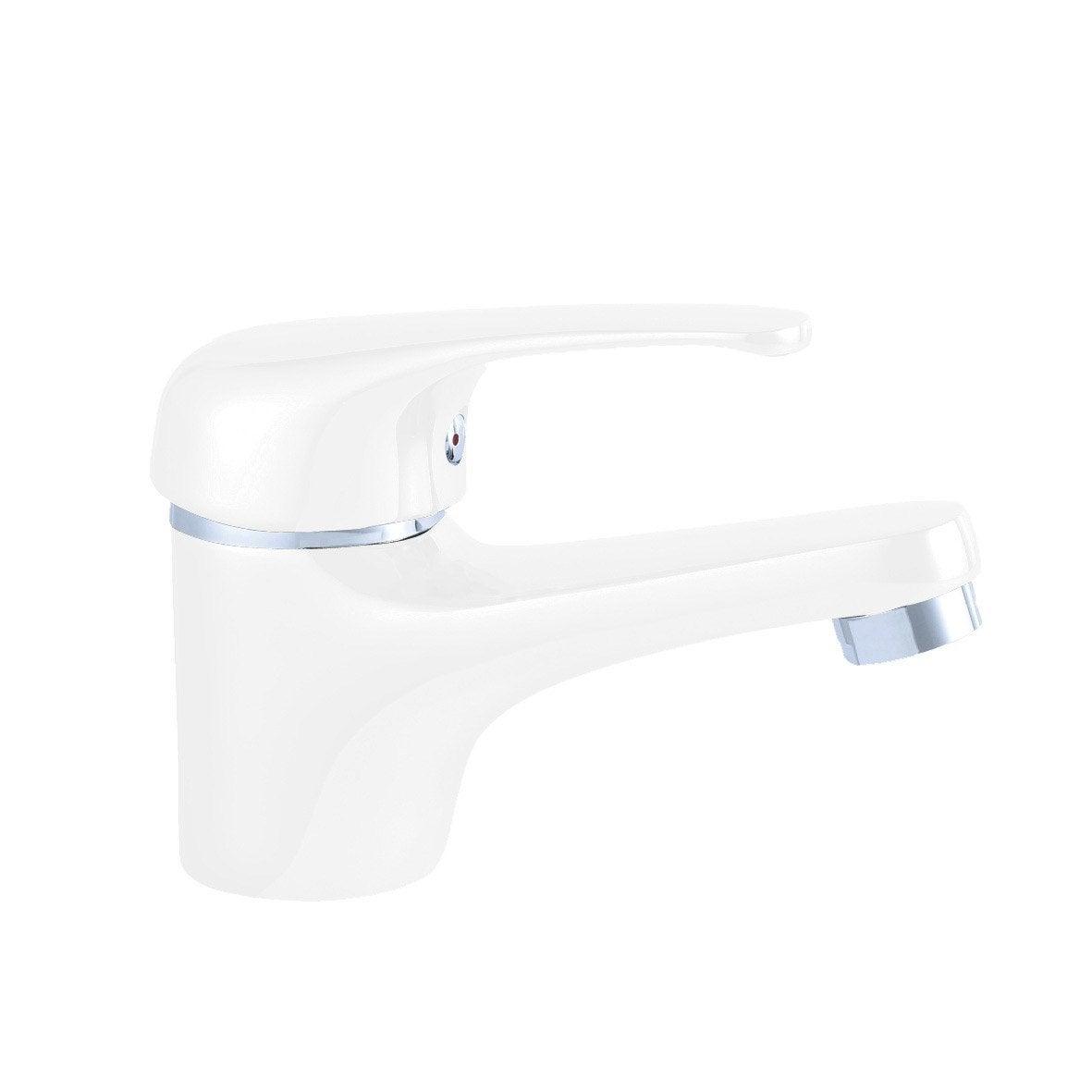 Mitigeur de lavabo blanc brillant, SENSEA Natu