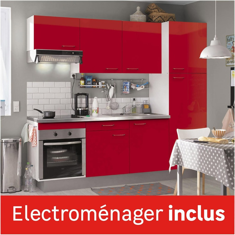 Cuisine équipée, rouge brillant l.240 cm, électroménager inclus