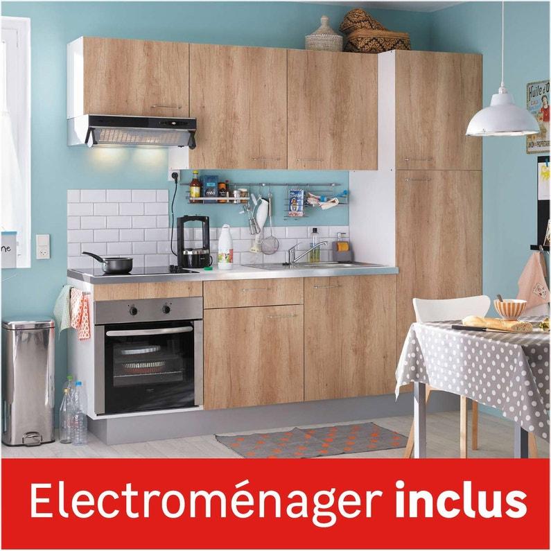 Cuisine équipée Imitation Chêne Clair L240 Cm électroménager