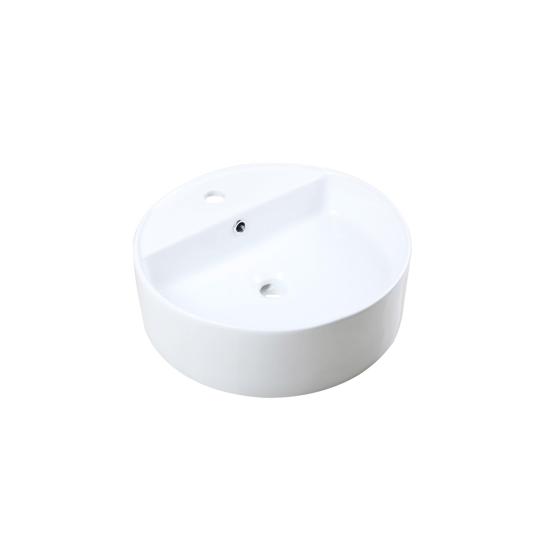 Vasque à poser céramique l.45 x P.45 cm Diam.45 cm blanc