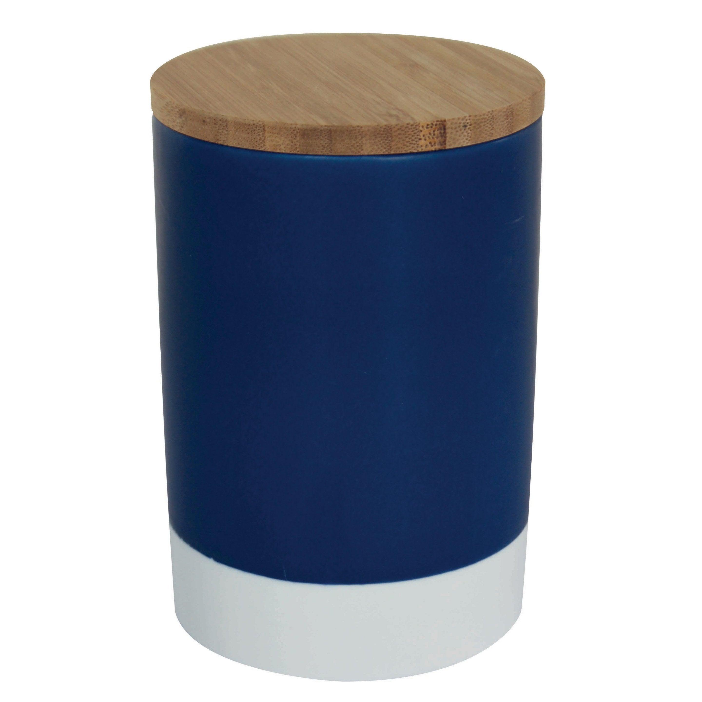 Boîte taille unique céramique bleu H.14.5 x l.10 x P.10 cm