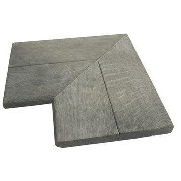 Margelle Alpège en pierre reconstituée gris, L.50 x l.50 x Ep.3.5 cm