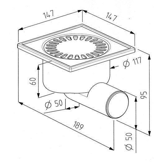 Siphon de sol douche à l'italienne, Diam.60 mm, L.15 x l.15 cm