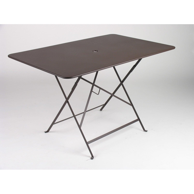 Table de jardin de repas FERMOB Bistro rectangulaire rouille 6 personnes