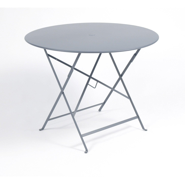 Table de jardin de repas FERMOB Bistro ronde gris orage 4 personnes