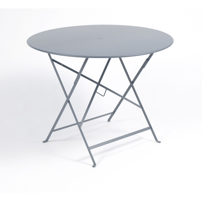 Table de jardin FERMOB Bistro ronde gris orage 4 personnes | Leroy ...