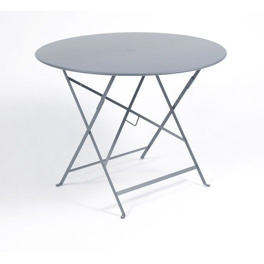 Table de jardin fermob bistro ronde gris orage 4 personnes for Table ronde 4 personnes