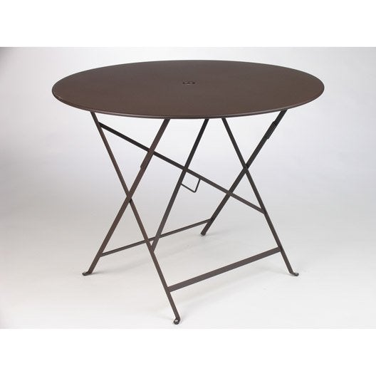 Table de jardin fermob bistro ronde rouille 4 personnes for Table de jardin bistrot