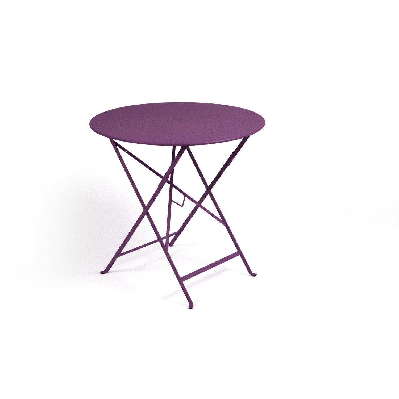 table de jardin fermob bistro ronde aubergine leroy merlin. Black Bedroom Furniture Sets. Home Design Ideas