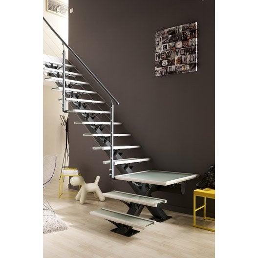 escalier quart tournant mona structure aluminium marche verre leroy merlin