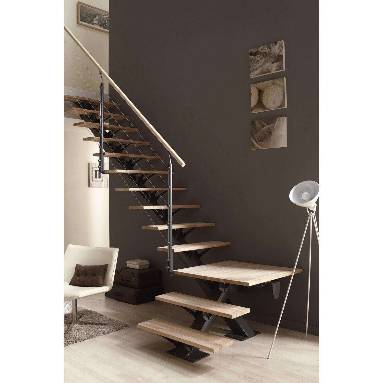 Escalier 1 4 Tournant Bas Réversible Alu Gris Mona 14 Marches Hêtre L 85