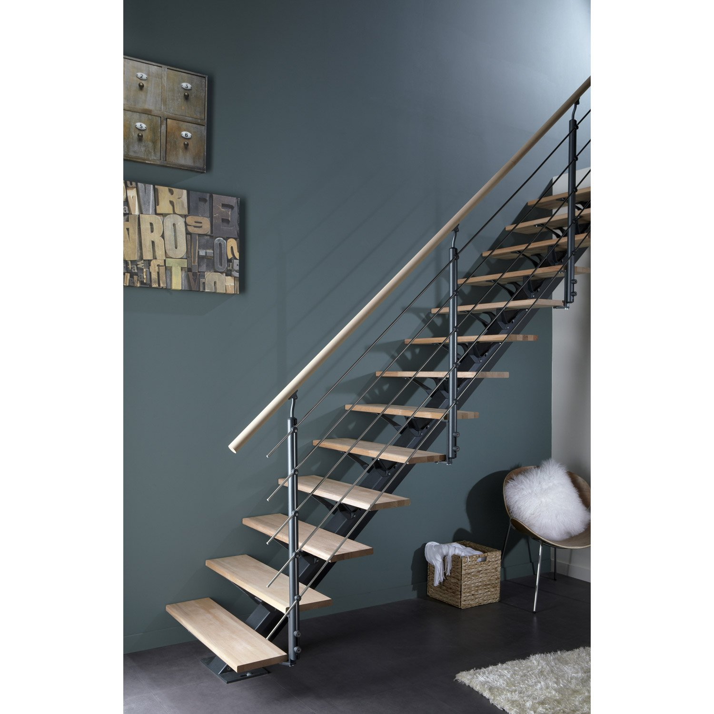 escalier droit mona structure aluminium marche bois. Black Bedroom Furniture Sets. Home Design Ideas