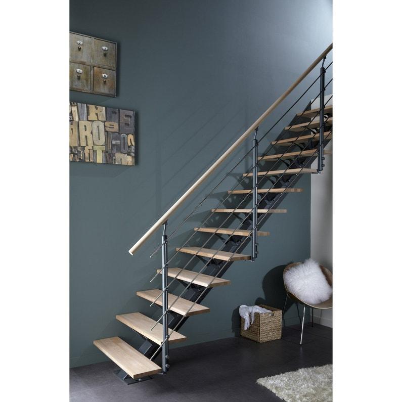 Escalier Droit Mona Structure Aluminium Marche Bois Leroy Merlin