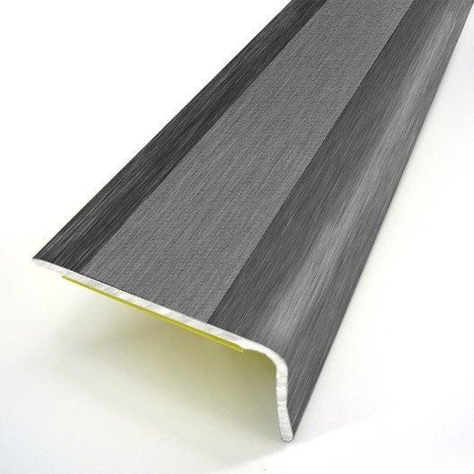 Nez de marche aluminium rev tu d co gris x l 3 6 cm for Barre de seuil parquet carrelage grande longueur