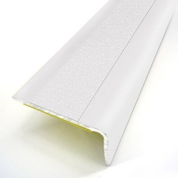 Nez de marche aluminium revêtu déco blanc L.95 x l.3.6 cm
