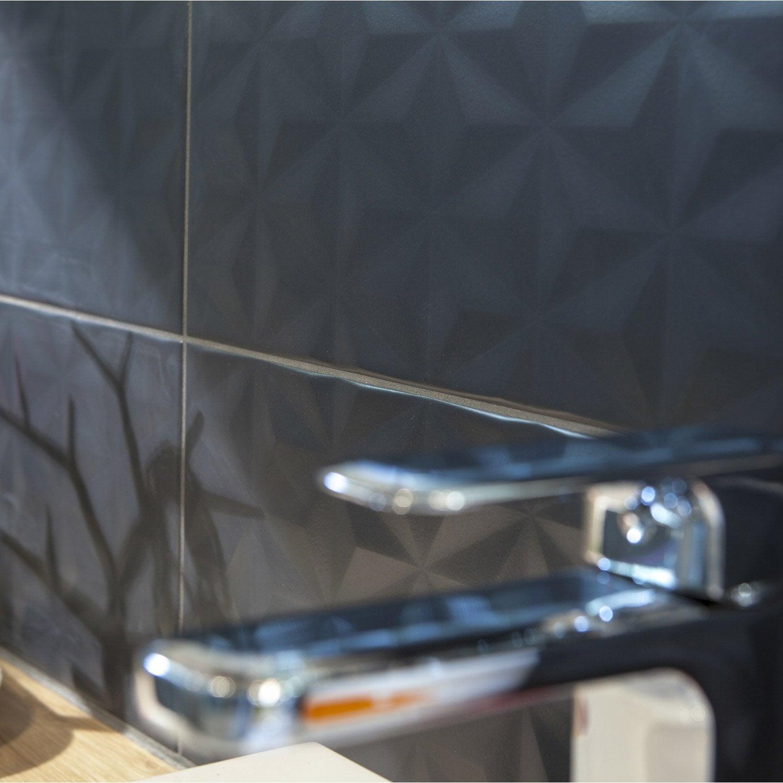 Faïence mur gris zingué n°1, décor loft facette l.20 x L.50.2 cm
