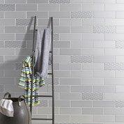 Faïence mur gris, décor vintage l.10 x L.30 cm